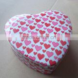 New design with high quality heart tin box for christmas gift