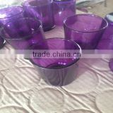 purple glass cosmetic bottle and jar,purple glass jar, purple candle holder                                                                         Quality Choice