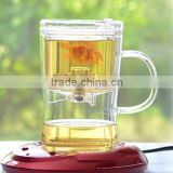 "New Arrival ! ""SAMADOYO"" Elegant Glass Flower Tea Cup With Infuser With Handle"