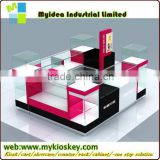 Mall Retail Tempered Glass Wood MDF Mobile Phone Kiosk With LED Lights Baking Paints cell phone display counter