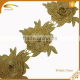 Custom 100% polyester metallic wedding embroidery lace trims in rolls