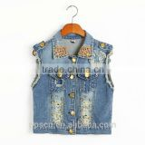 ss new fashion punk style jean vest with hole and golden beadings on top collar,china supplier