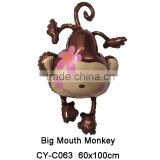 Big Mouth Monkey shaped animal shaped mylar balloon inflatable toys cute monkey