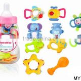 ABS infant baby teeth rattle toys with bottle shape storage