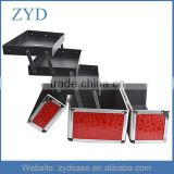 Good Looking Red Silver Black And Pink Material Aluminum Frame Metal Jewelry Organizer Case Handbag ZYD-HZ111905