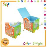 Wood cartoon pattern printed toy storage box,kid favourite fancy storage boxes,OEM available