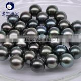 9-10mm AAA black tahiti loose pearl green color for wholesale