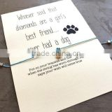 Dog lover jewelry dog charm bracelet wish with card packing                                                                                                         Supplier's Choice