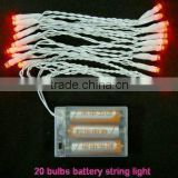 40 bulbs red color battery operated led light