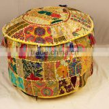 Indian Ethnic Vintage Footstool Furniture Patchwork Bohemian Round Cotton Chair Pouffe Pouf Ottoman