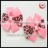 animal leopard print ribbon hair bow clip girls accessory
