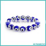 Bling Jewelry Evil Eye Glass Beads 10mm Dark Blue Stretch Zircon Tennis Bracelet 925 Sterling Silver