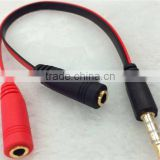 Black/Red 3.5mm Port Stereo AUX Jack 1 Male to 2 Female Y Splitter Earphone Audio Cable15cm cabletolink top quality