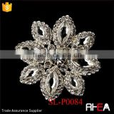 Elegant Vintage Pave Crystal Bridal Pin for Hair or Gown Brooch Antique Silver with Rhinestones