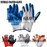 Cheapest 13 Gauge White Nylon Glove with Blue Nitrile Coated Glove Blue Nitrile Palm Coated Work Glove/Guantes De Latex A08