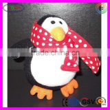 B088 Soft Black White Penguin Doll Toy Animal Stuffed Hand Knitted Doll with Scarves