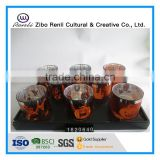 Electroplated Carve Pumpkin Light Design Glass Candle Holder Set for Hallowmas