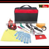 YYS12009 car tool kit for roadside emergency packed in heavy duty bag with reflective triangle stripe