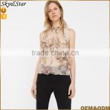 Summer see through chiffon halter top lady sexy sleeveless top floral top