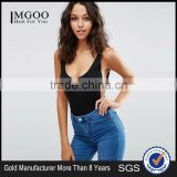 MGOO Tank Bodysuit With Scoop Back Women Slimming Underwear Plain Black Body Shaper Cincher Bodysuit