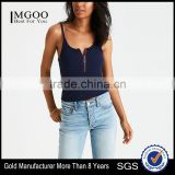 MGOO New Pattern Scoop Neck Tight Sling Crop Top Drop Armhole Sexy Zipper Front Tank Top Women