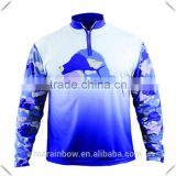 Full Sublimation Printed Mens 1/2 Zipper Long Sleeve Fishing Shirt Tournament Fishing Jersey Dri-Fit Performance T-Shirt