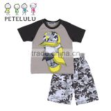 2016 Petelulu New Design 100% Cotton Pijama Suit Short Sleeve Night Wear Summer Pajamas Sets with Good Quality