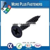 Made in Taiwan Yellow Zinc Black Phosphate Coarse Phillip Twin Fine Thread Zinc Drywall Screw