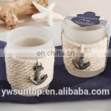 "The Pastoral Elegant ""Anchors Away"" Rope Glass Tea Light Candle Holder For Wedding Baby Shower Party Decoration"