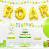 "Dinosaur Theme Gold ""ROAR"" Balloon with Round Paper Garland and Paper Cake Topper Party Decoration Kit 31pcs/set"