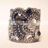 Aidocrystal Handmade New design hot sell Rivet black bride wedding crystal jewelry rhinestone Wide Bracelet