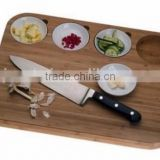 Natural color unique design bamboo cutting block,wooden chopping block with groove for saucer