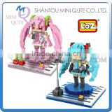 Mini Qute Kawaii loz 2 styles Anime Hatsune Sakura Miku cartoon diamond block plastic cube building block educational toy