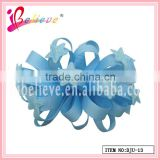 Handmade high quality star decoration solid koker curly ribbon hair flower hairgrips (DJU--13)
