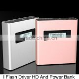 Wholesale Portable USB Charger Power Bank 5V/2A 5200mAh and I Flash driver with golden and silver color For iphone ipad