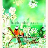 Hot selling birds and flower customized heat printing fabric transfers for textiles