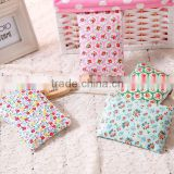 Beautiful Flower Printing Convenient Small Puse Oil Cloth Zipper Pocket Fashion Waterproof Mini Cosmetic Bag