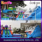 2016 Newest inflatable shark water park, inflatable amusement water slides with pool,outdoor slide rides park with octopus