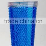 HT20-1 FDA certified double wall plastic frosty straw cup,freezer straw tumbler with gel from factory