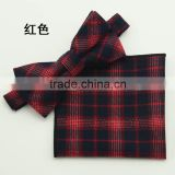 Fashion Scotland Plaids Bow Ties For Bridegroom,BowTies Pocket Together Set For Men