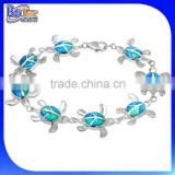 Hotsale Fashion Jewelry Mexican Bracelet,925 Sterling Silver Synthetic Blue Fire Opal Turtle Bracelet Wholesale