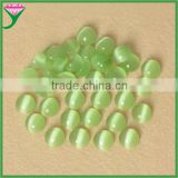 hot-sale products Grass green round cabochons flat back glass artificial cat eye gemstone