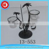 Professional produce special black plant modeling tabletop decoration metal candle holder