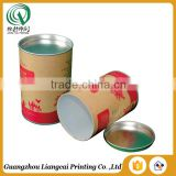 Customized vintage round shape recycled tin tea can paper cans to tea with airtight metal lid