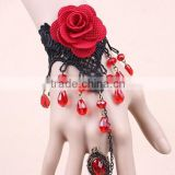 Red Flowers Beaded Hand Slave Bracelet Chain Ring Rose Flower Bracelet Ring