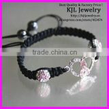 GZKJL-BL0106 black cords shamballa bracelet,pink breast cancer bracelet,ribbon bead bracelet