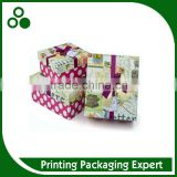 FANCY COLOR PRINTING NEW YEAR GIFT CARDBOARD CUSTOM HANDMADE GIFT BIX WITH DOUBLE RIBBON