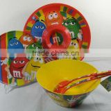 melamine tableware set/melamine chip and dip tray/melamine plate/melamine spoon and fork
