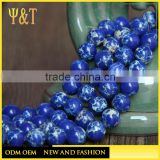 China factory different size round ocean blue lapis tile with hole for bracelets necklace (KB-002)