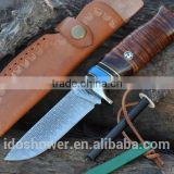 fixed blade outdoor hunting knife with bone handle, military pocket knife